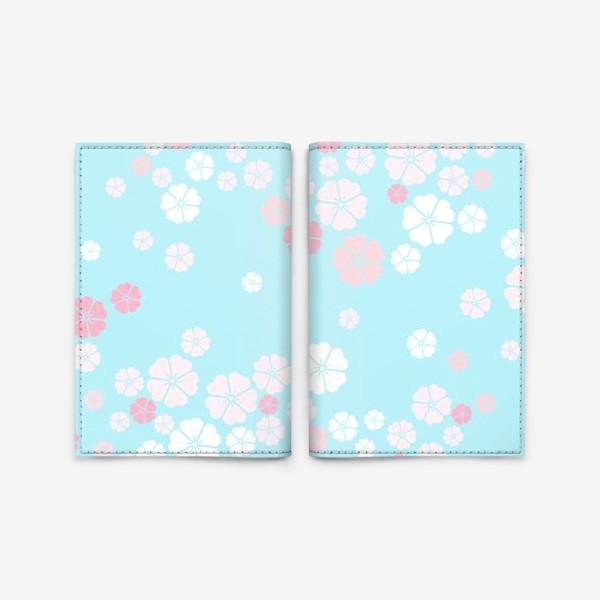 Обложка для паспорта «Нежный паттерн. Белые и розовые цветочки на голубом фоне.»