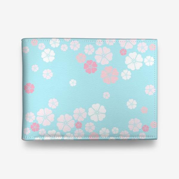 Кошелек «Нежный паттерн. Белые и розовые цветочки на голубом фоне.»