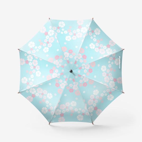 Зонт «Нежный паттерн. Белые и розовые цветочки на голубом фоне.»
