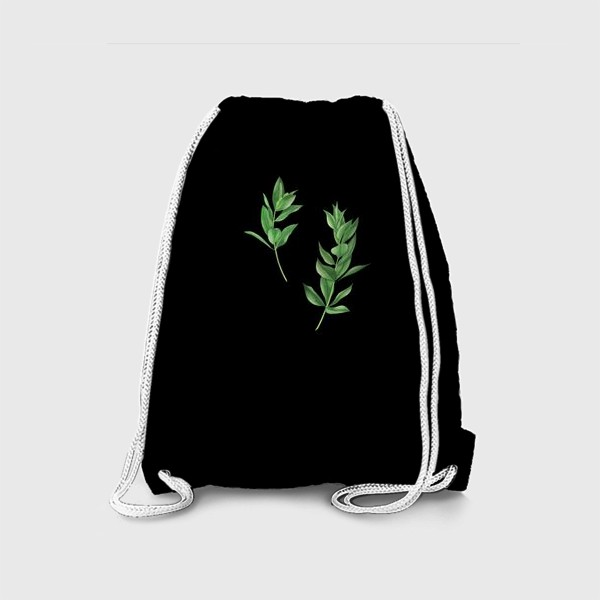 Рюкзак «Ветки эвкалипта на черном фоне»