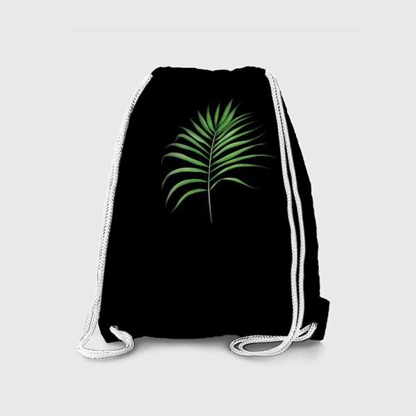 Рюкзак «Лист пальмы на черном фоне»