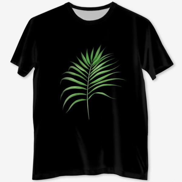 Футболка с полной запечаткой «Лист пальмы на черном фоне»