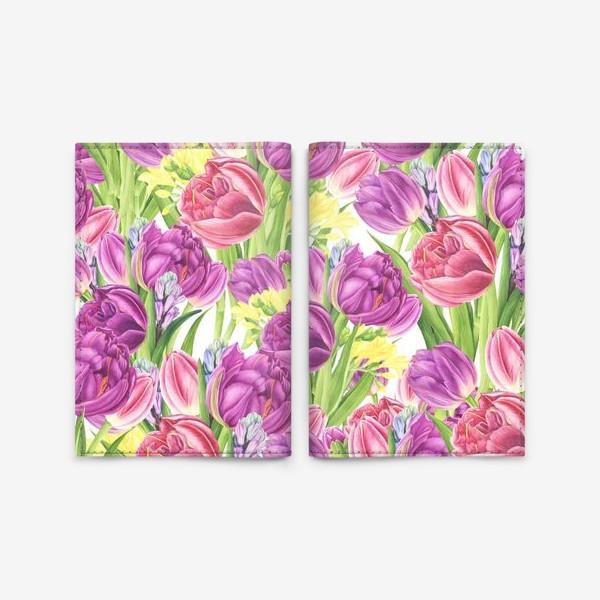 Обложка для паспорта «Яркий цветочный принт с тюльпанами»