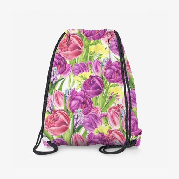 Рюкзак «Яркий цветочный принт с тюльпанами»