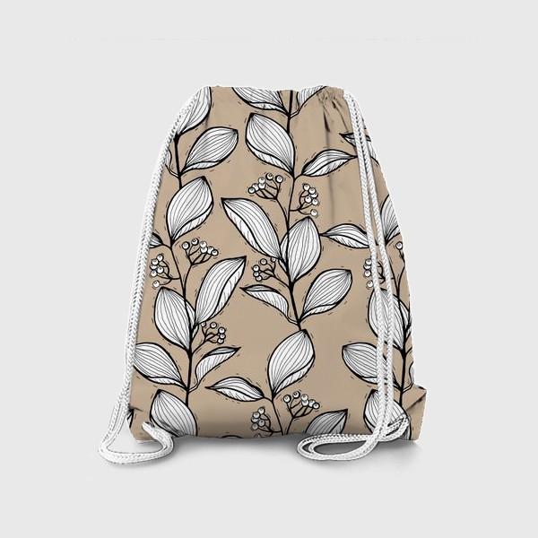 Рюкзак «Растительный орнамент с листьями и ягодами, графика»