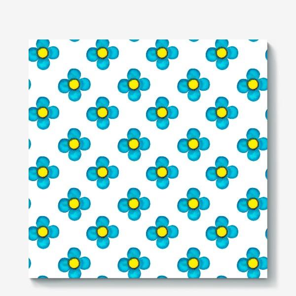 Холст «Паттерн Голубые цветочки»