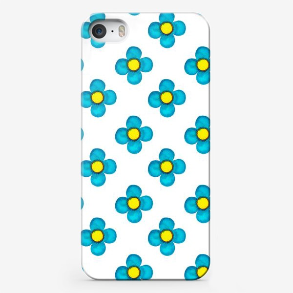 Чехол iPhone «Паттерн Голубые цветочки»