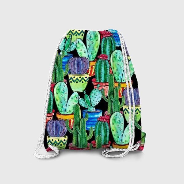 Рюкзак «Паттерн яркие кактусы в горшках»