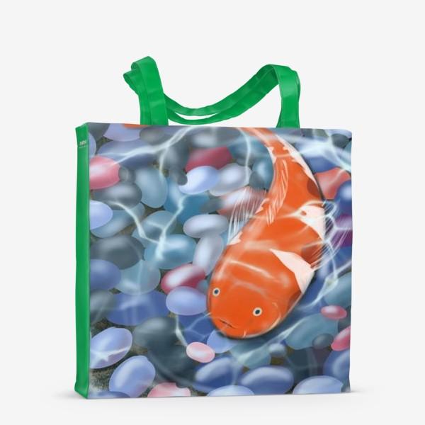 Сумка-шоппер «Иллюстрация - оранжевая рыбка под водой»