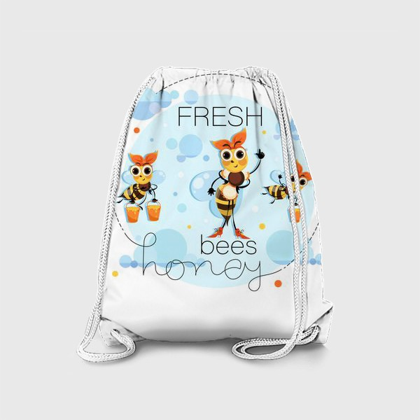 Рюкзак «Свежий цветочный мед. Рой пчел. Векторная медовая этикетка, эмблема. Смешные мультяшные»