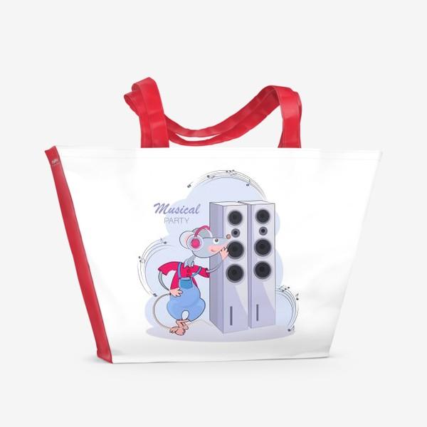 Пляжная сумка «Мышонок меломан. Музыкальная вечеринка»