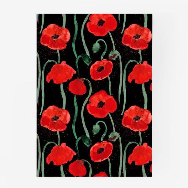 Постер «Красный акварельные маки на черном фоне»