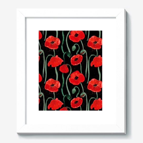 Картина «Красный акварельные маки на черном фоне»