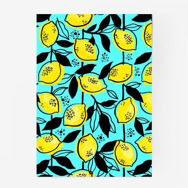 Постер «Жёлтые лимоны с черными листьями на голубом фоне»