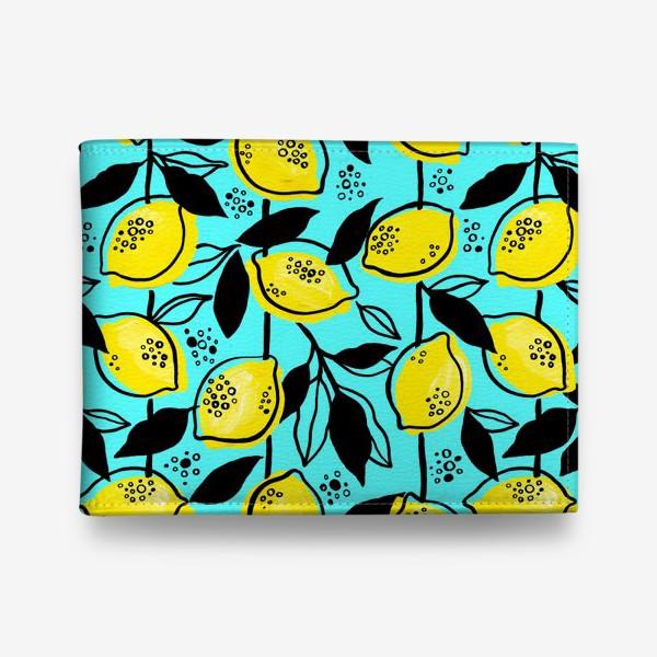 Кошелек «Жёлтые лимоны с черными листьями на голубом фоне»