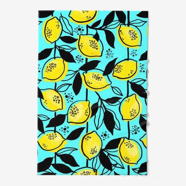 Полотенце «Жёлтые лимоны с черными листьями на голубом фоне»