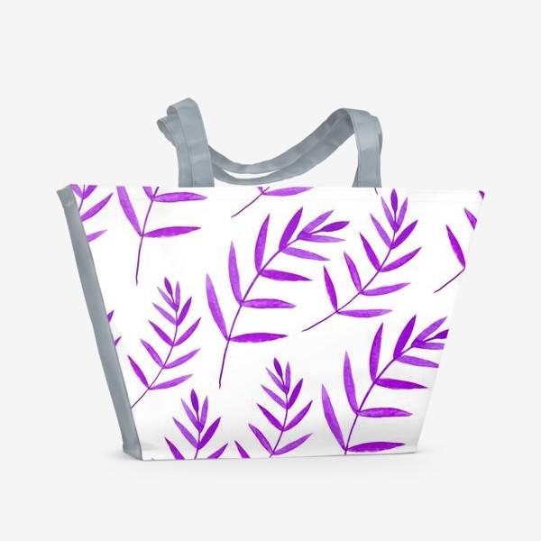 Пляжная сумка «Сиреневые тропические листья»