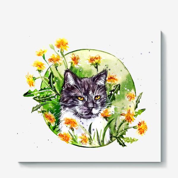 Холст « кот в одуванчиках»