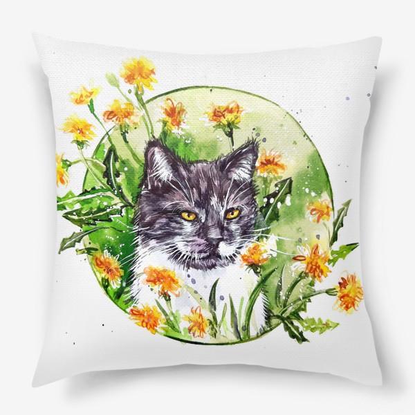Подушка « кот в одуванчиках»