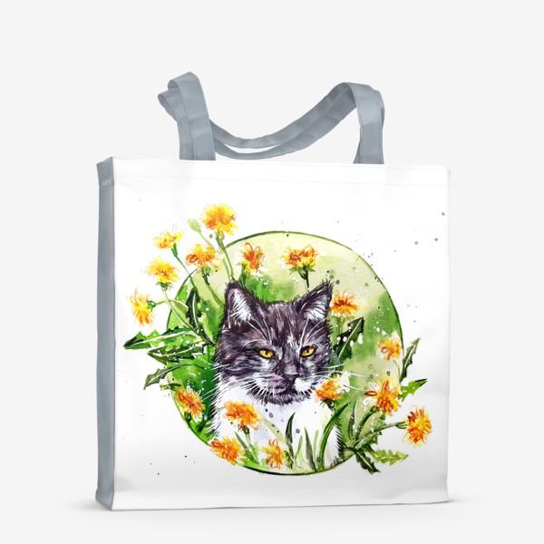 Сумка-шоппер « кот в одуванчиках»