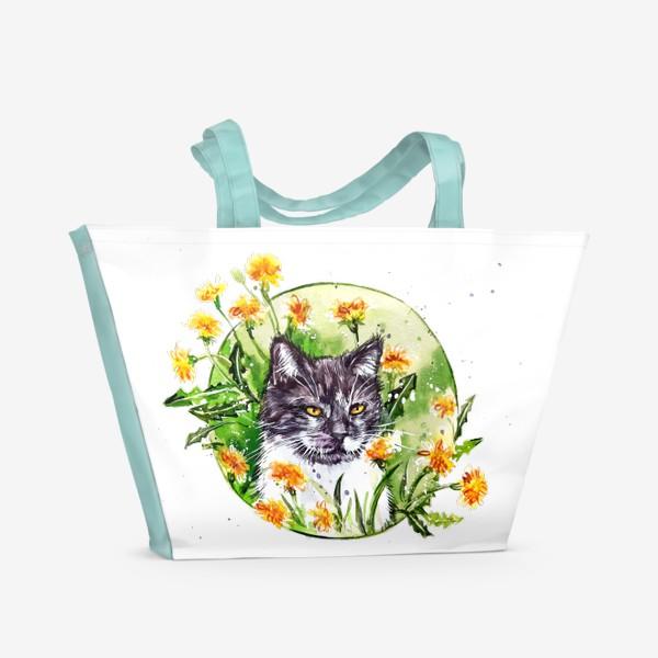Пляжная сумка « кот в одуванчиках»