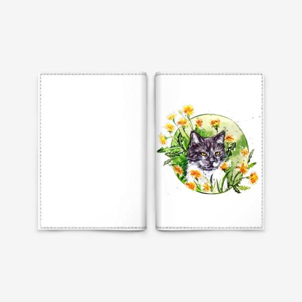 Обложка для паспорта « кот в одуванчиках»