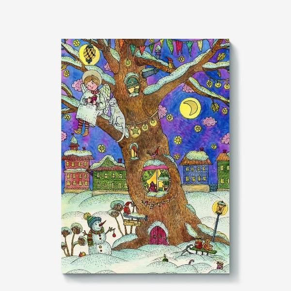 Холст «С Новым годом и Рождеством!  Добрый ангел»
