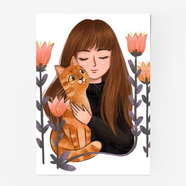 Постер «Девушка с рыжим котом»