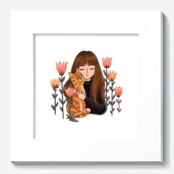 Картина «Девушка с рыжим котом»