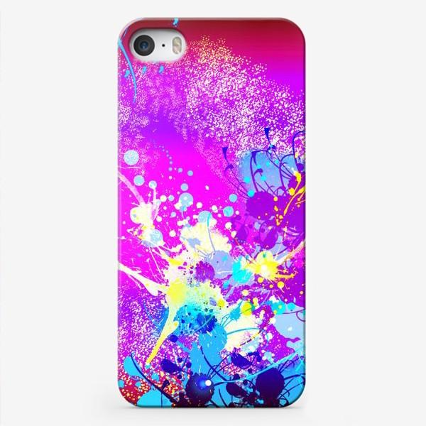 Чехол iPhone «Пятна краски на розовом фоне»