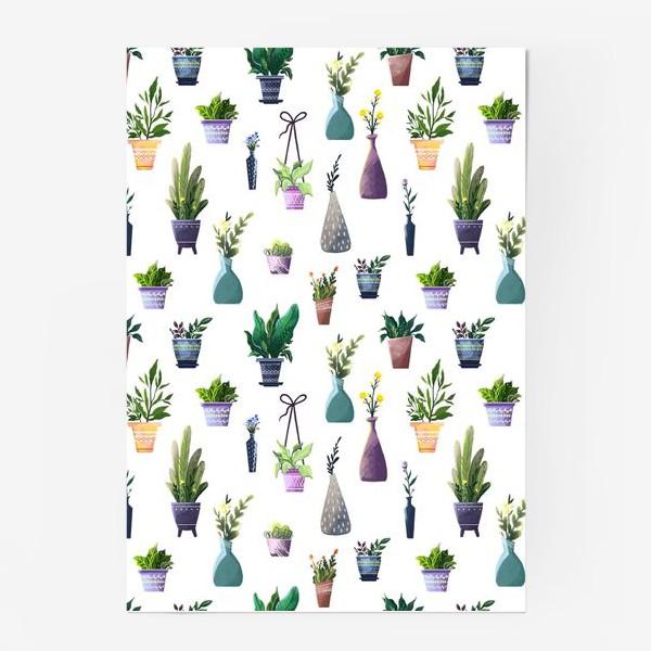 Постер «Летний паттерн с растениями»