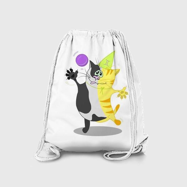 Рюкзак «Кот Близнецы. Подарок для Близнецов.»