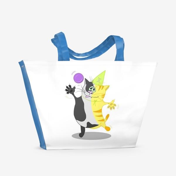 Пляжная сумка «Кот Близнецы. Подарок для Близнецов.»
