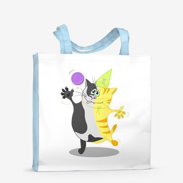 Сумка-шоппер «Кот Близнецы. Подарок для Близнецов.»