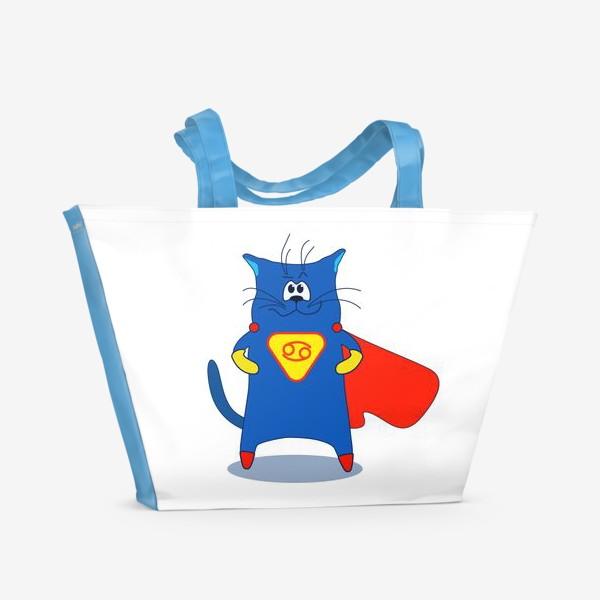 Пляжная сумка «Кот Рак. Подарок для Рака. Знак зодиака Рак»