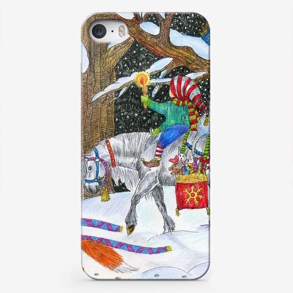 Чехол iPhone «Новогодняя ночь в сказочном лесу»