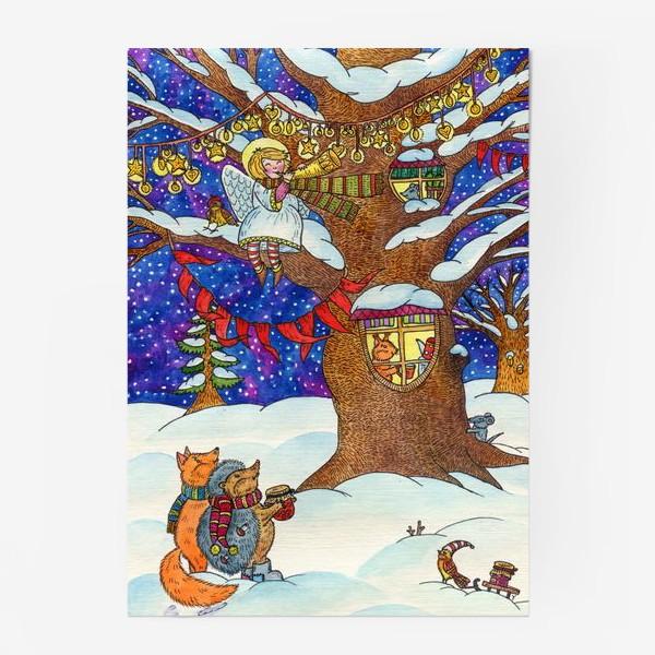 Постер «Ёжик и лисёнок в сказочном лесу в рождественскую ночь»