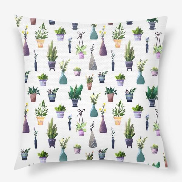 Подушка «Летний паттерн с растениями»