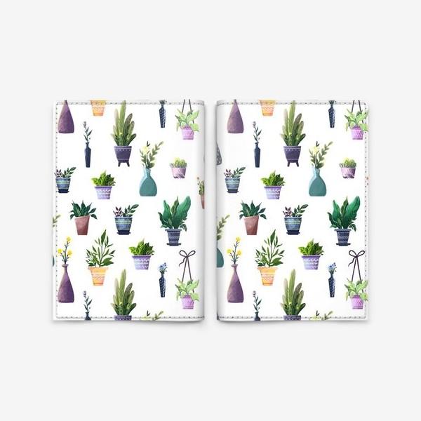 Обложка для паспорта «Летний паттерн с растениями»