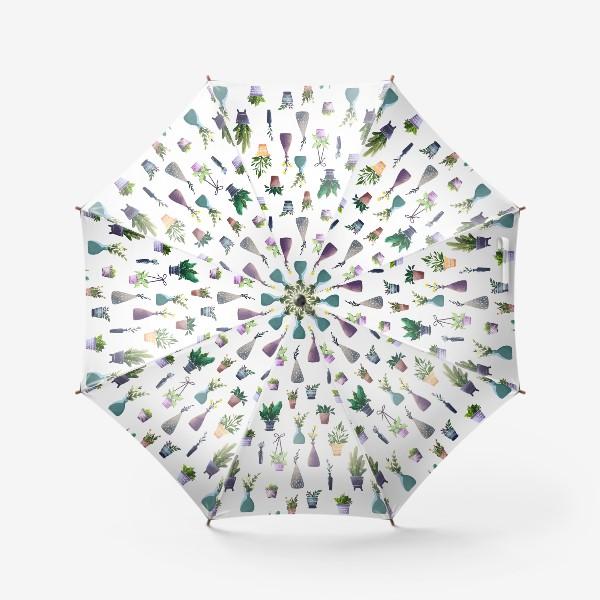 Зонт «Летний паттерн с растениями»