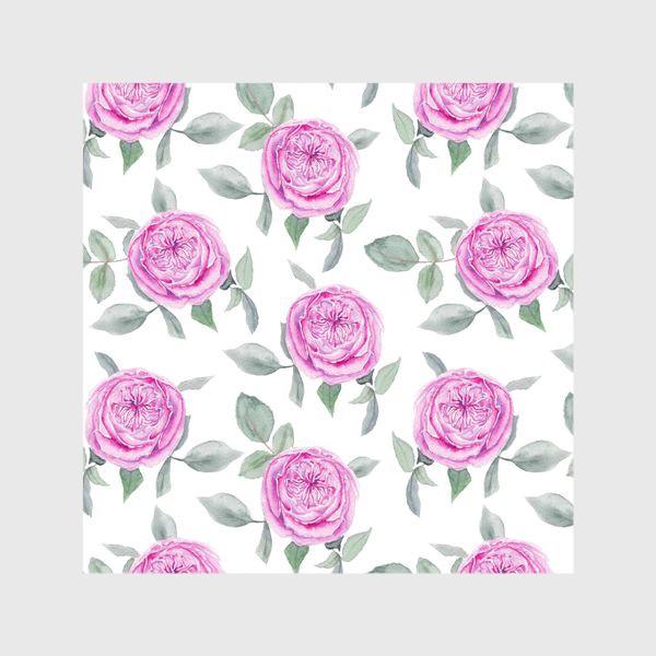 Шторы «Розовые розы. Акварельный паттерн на белом фоне»
