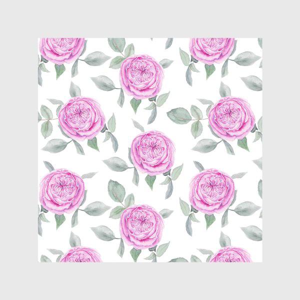 Скатерть «Розовые розы. Акварельный паттерн на белом фоне»