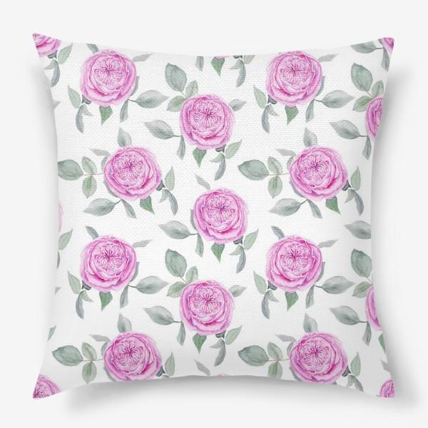 Подушка «Розовые розы. Акварельный паттерн на белом фоне»