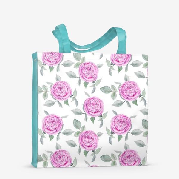 Сумка-шоппер «Розовые розы. Акварельный паттерн на белом фоне»