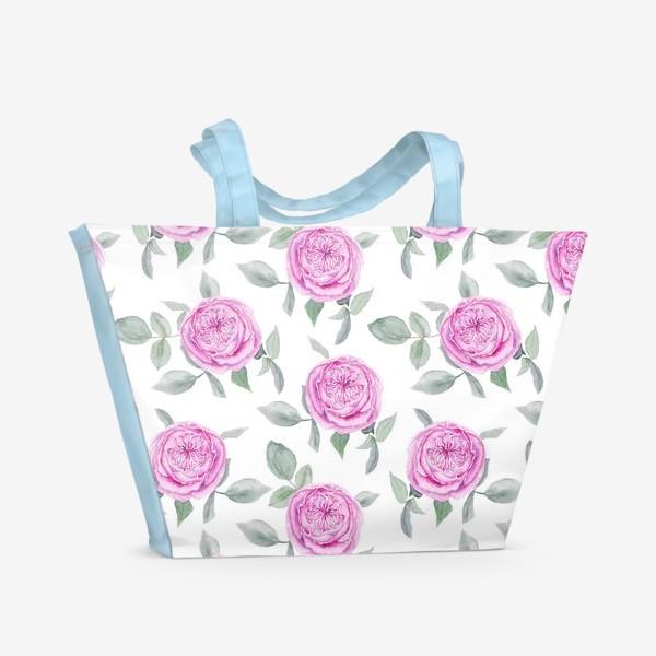 Пляжная сумка «Розовые розы. Акварельный паттерн на белом фоне»