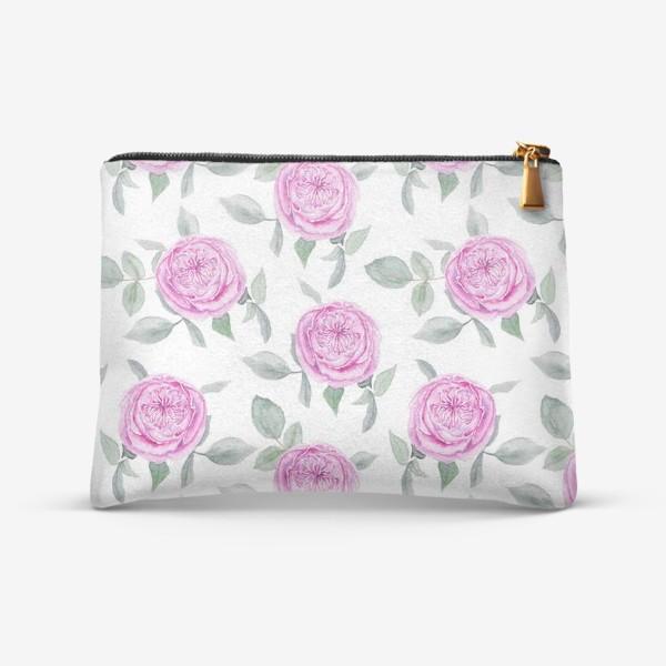 Косметичка «Розовые розы. Акварельный паттерн на белом фоне»
