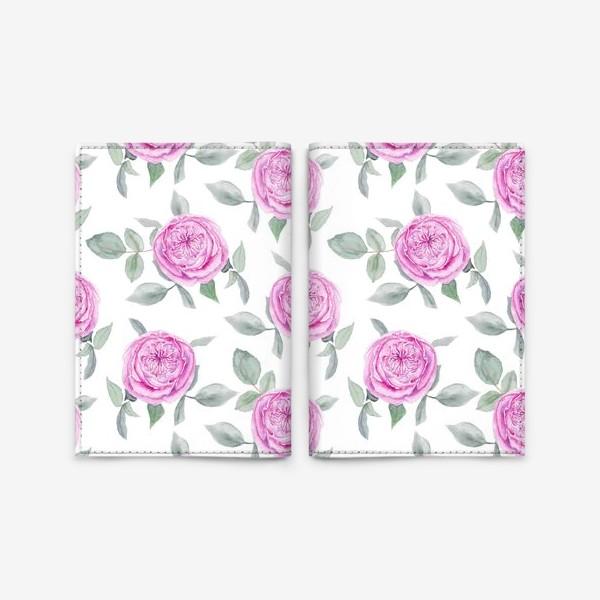 Обложка для паспорта «Розовые розы. Акварельный паттерн на белом фоне»