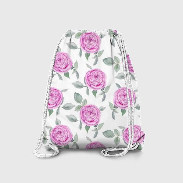 Рюкзак «Розовые розы. Акварельный паттерн на белом фоне»