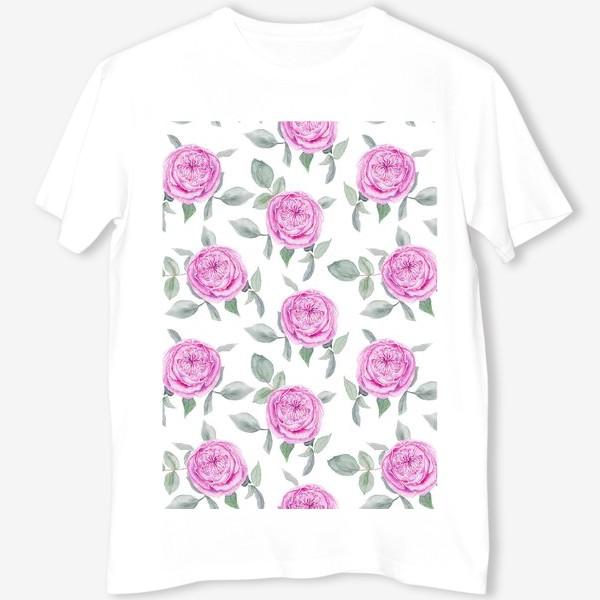 Футболка «Розовые розы. Акварельный паттерн на белом фоне»