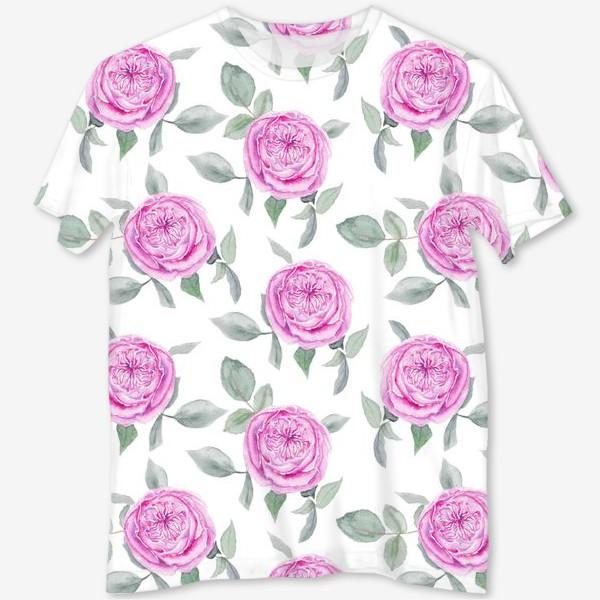 Футболка с полной запечаткой «Розовые розы. Акварельный паттерн на белом фоне»